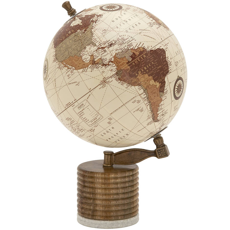 Decmode Wood and Metal Marble Globe, Multi Color