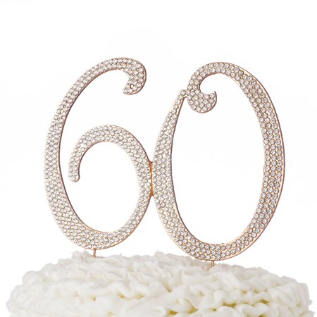 60 Cake Topper For 60th Birthday Or Anniversary Rose Gold Rhinestone Party Supplies Decoration Ideas