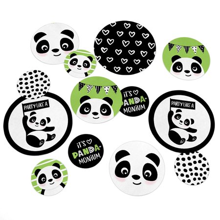 Party Like a Panda Bear - Baby Shower or Birthday Party Giant Circle Confetti - Party Decorations - 27 Ct