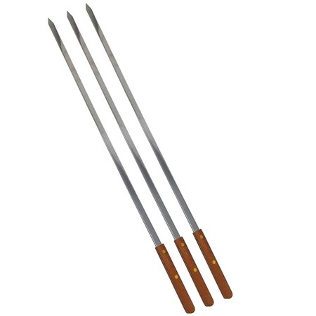 Stainless Steel Wooden Handle 25 Inch Long 1/2 Inch Wide Set of 3 BBQ Skewers for Shish Kebab Turkish Grills & Koubideh Brazilian-style BBQ