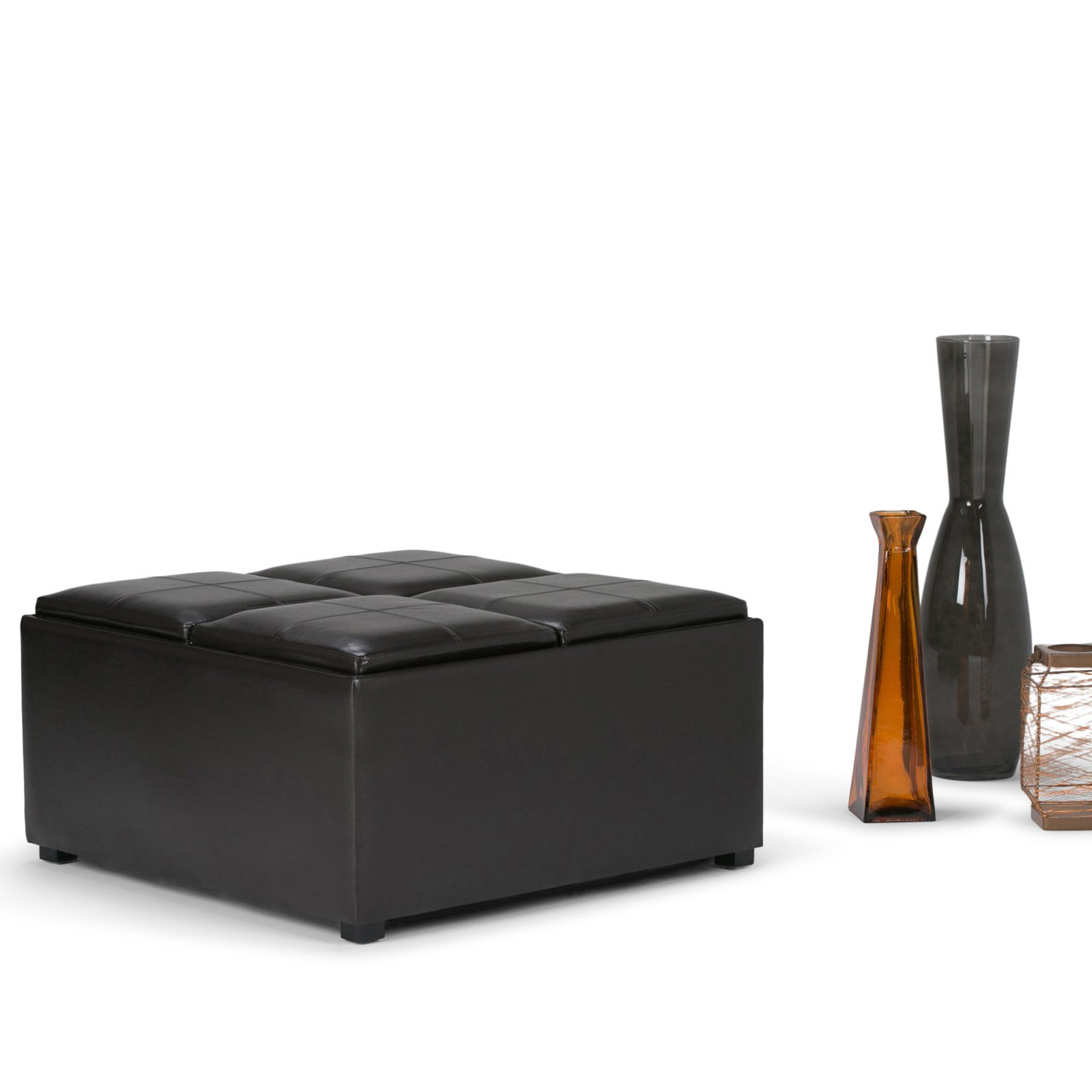 Incredible Simpli Home Avalon Coffee Table Storage Ottoman With 4 Serving Trays Walmart Com Ibusinesslaw Wood Chair Design Ideas Ibusinesslaworg