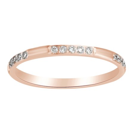 Round Shape White Natural Diamond Anniversary Band Ring In 14K Rose Gold (0.16 Cttw)
