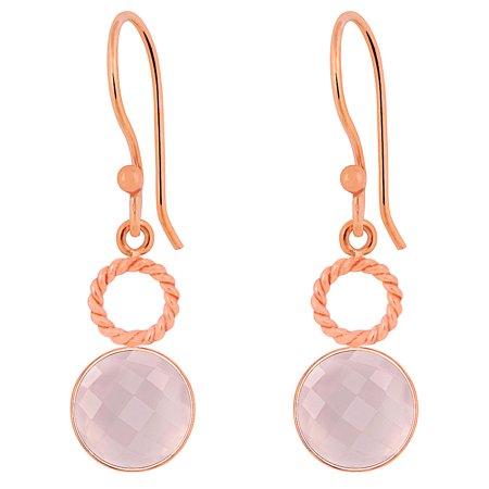 Quartz Briolette Earrings - 6.6 Ctw Briolette Round Cut Fine Pink Rose Quartz Earring, Drop Dangle Bezel Set, Rose Gold Plating Brass Earrings For Women's Gift
