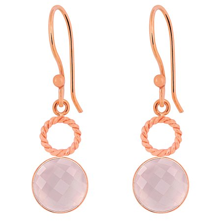 6.6 Ctw Briolette Round Cut Fine Pink Rose Quartz Earring, Drop Dangle Bezel Set, Rose Gold Plating Brass Earrings For Women's -