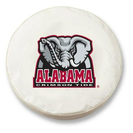 Alabama Tire Cover with Crimson Tide Logo on White Vinyl: H2 - 35 x 12.5 Inch Alabama Crimson Tide Tire Cover