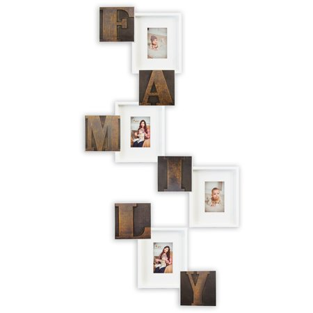 Luxury Family Theme Photo Frames 10 Piece PVC Photo Frame & Wall Decor Bar Set - Bronze Retro Print Characters | Picture Frame Gallery Collage Wall Hanging Wall Mounting Design ()
