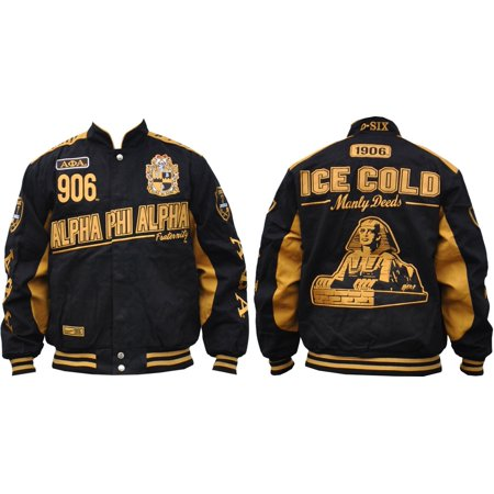 Big Boy Alpha Phi Alpha Divine 9 S9 Mens Twill Racing Jacket [Black - (Drag Racing Jackets For Men)