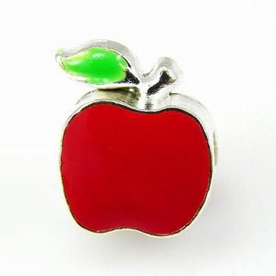 Red Apple Charm Bead. Fits Troll, Biagi, Zable, Chamilia, And Pandora Style Charm Bracelets.