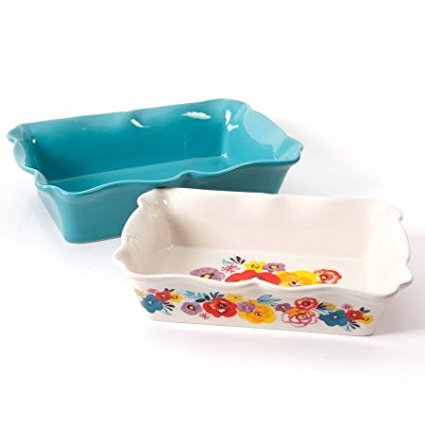 82829.02R Ruffled Top Dishwasher Oven Safe Flea Market 2-Piece Decorated Rectangular Ruffle Top Ceramic... by
