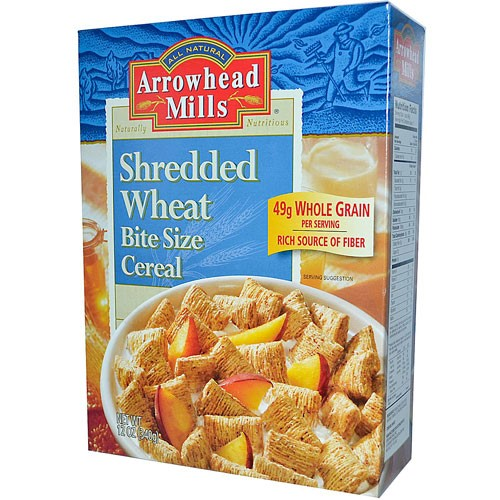 Arrowhead Mills Shredded Wheat Cereal, Bite Size, 12 Oz