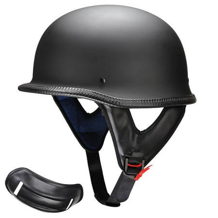 Yescom DOT Motorcycle Helmet Half Open Face Cruiser Chopper Biker Skull Cap  Helmet German Style Black M/L/XL