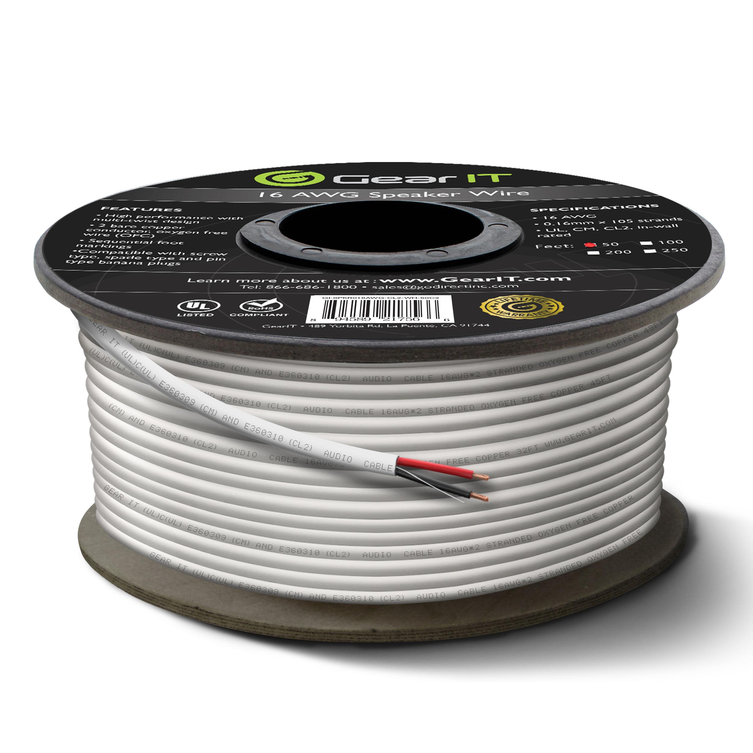 16 Gauge CL2 OFC Speaker Wire, GearIT Pro Series 16AWG (50 Feet ...