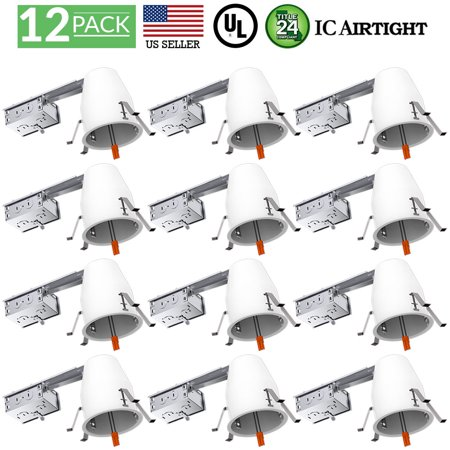 Sunco Lighting 12 Pack 4 Inch Remodel LED Can Air Tight IC Housing, Recessed Lights, LED Downlight, For Retrofit Kit, Electrician Prefered - UL Listed and Title 24 Certified