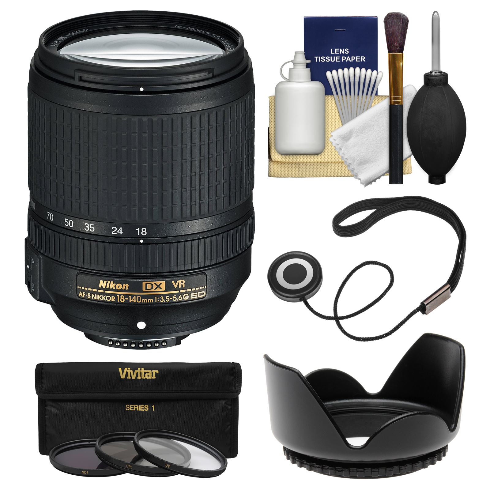 Nikon 18-140mm f/3.5-5.6G VR DX ED AF-S Nikkor-Zoom Lens - Factory Refurbished with 3 UV/CPL/ND8 Filters + Hood + Accessory Kit