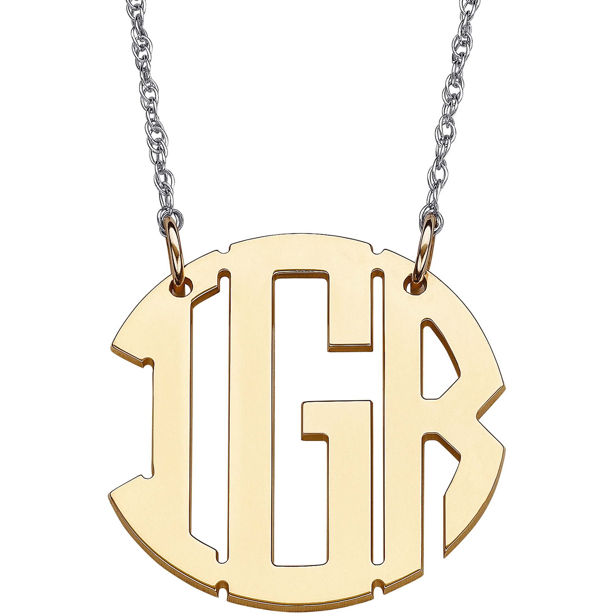 Personalized Women's Gold over Sterling Silver Circle Monogram Necklace