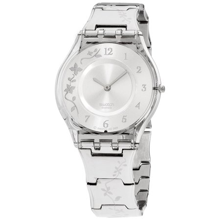 Swatch Skin Climber Flower Silver Dial Stainless Steel Ladies Watch -
