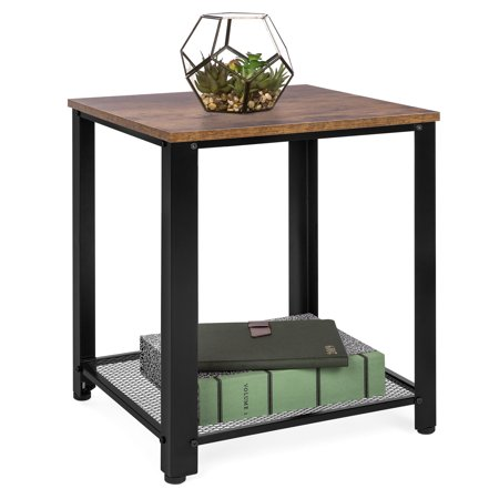 Best Choice Products 2-Tier Rustic Industrial Side End Table, Living Room & Bedroom Accent Furniture w/ Wood Finish Top, Metal Mesh Storage Shelf, Adjustable Feet ()