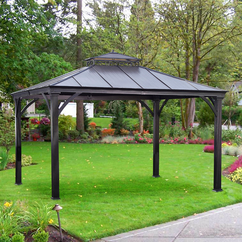 Sunjoy Mayfield Hardtop Gazebo, Light Brown by Sunjoy Industries Group Limited