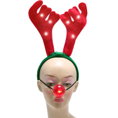 Rudolph Light Up Red Nose Antlers Reindeer Christmas Costume Accessory Kit Set