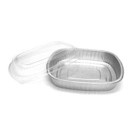 Handi Foil Medium Silver Entree Tray with Lid - 50 per case.