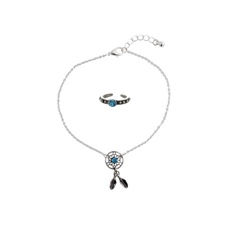 dream blue toe main p ring catcher carole anklet silvertone zulily set
