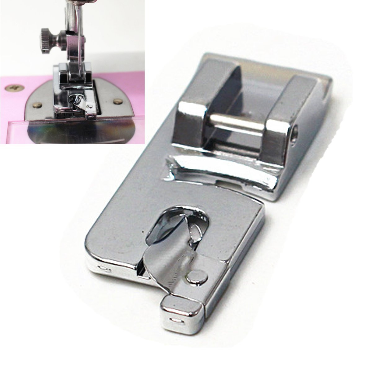 Meigar 6mm Rolled Hem Hemmer Foot Presser for Brother Singer Domestic Sewing Machine