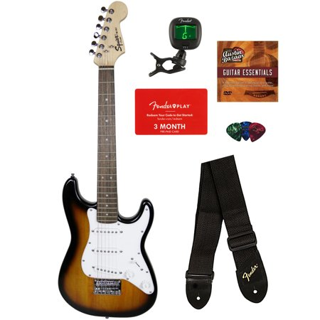 Squier by Fender Mini Strat Electric Guitar - Brown Sunburst Bundle with Tuner, Strap, Picks, Fender Play Online Lessons, Austin Bazaar Instructional DVD, and Polishing Cloth (Fender Squier Mini Strat)