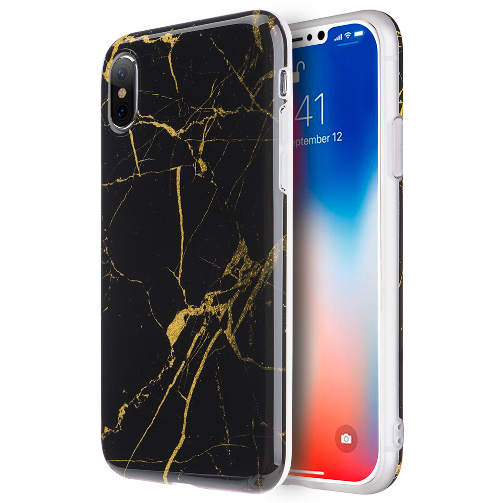 Luxmo Case for iPhone X Case Marble Imd Soft Tpu Case - Black / Gold
