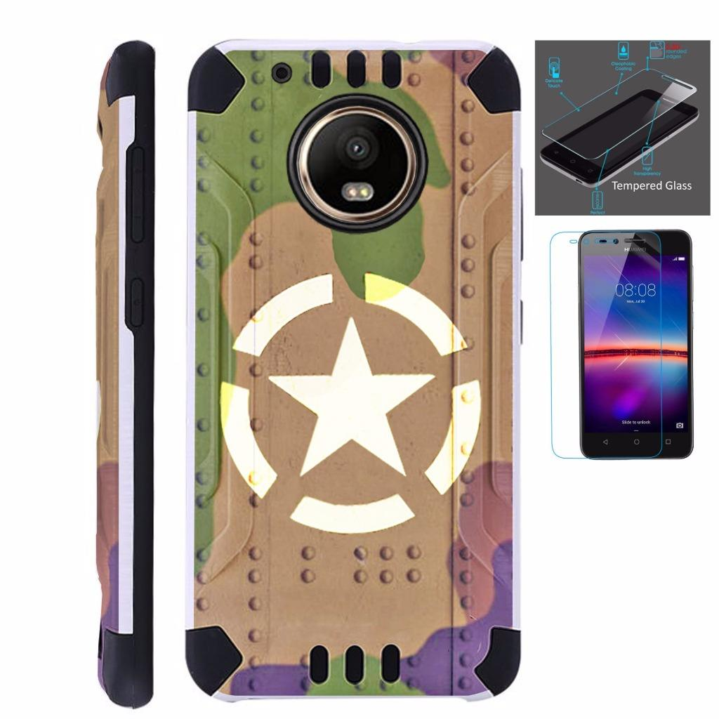 For Moto G5 Plus Case XT1687 + Tempered Glass Screen Protector / Slim Dual Layer Brushed Texture Armor Hybrid TPU KomBatGuard Phone Cover (Tank Shield Camo)