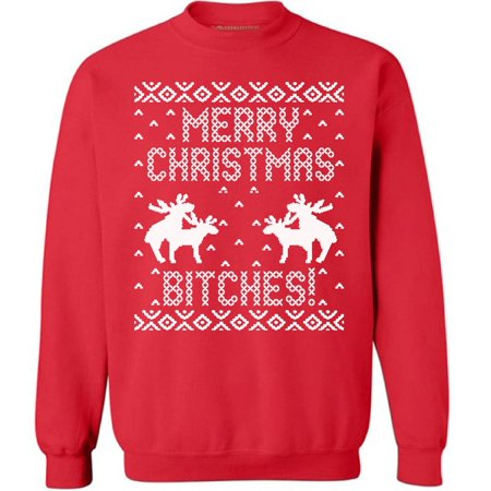 e2a0674f9 Merry Christmas Btches Christmas sweatshirt Ugly Christmas Sweater Xmas  Holiday sweatshirt Funny Christmas Sweater Party Humping Reindeer Merry  Christmas ...
