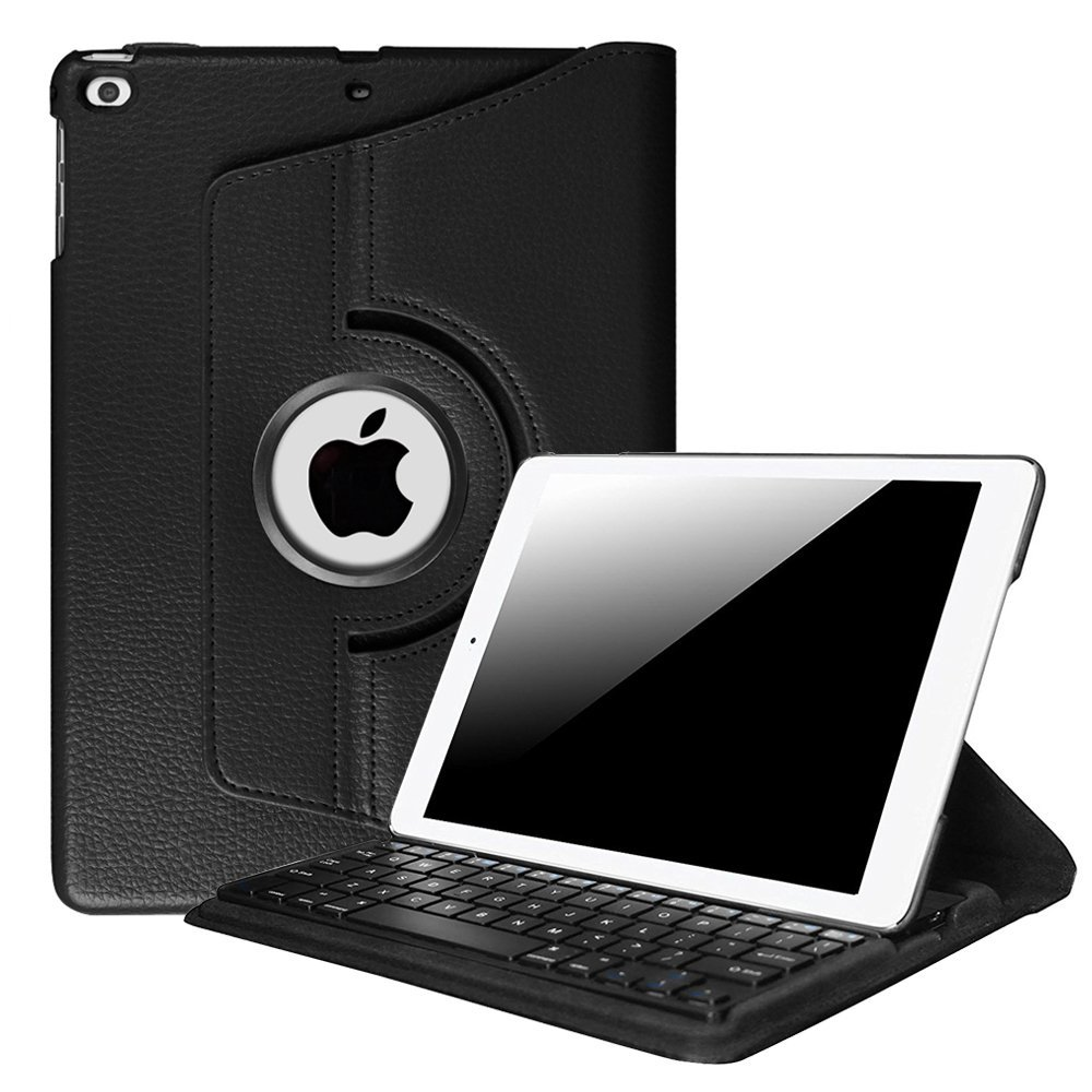 Fintie 360 Degree Rotating Keyboard Case Cover for  iPad 9.7 inch 2017 2018/ iPad Air / iPad Air 2, Black