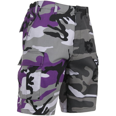 Two Tone Camo Cargo Shorts Military Fatigues Army Tactical BDU 6-Pocket - Purple/Gray Camo /