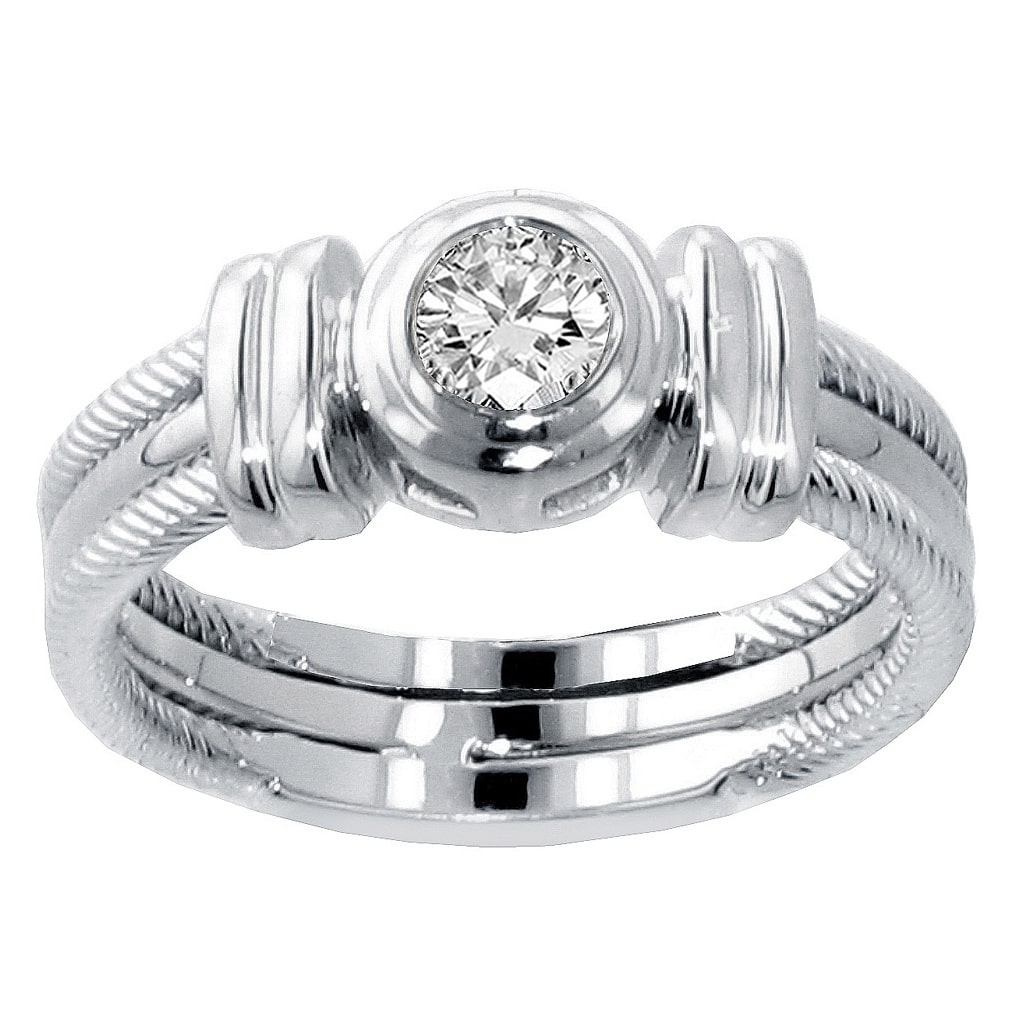 VIP Jewelry Art 14k/ 18k White Gold 1/4ct TDW Bezel Set Diamond Anniversary Wedding Ring