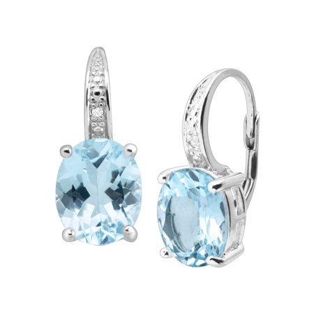 Blue Diamond Journey Earrings (4 7/8 ct Natural Swiss Blue Topaz Drop Earrings with Diamonds in Sterling Silver )