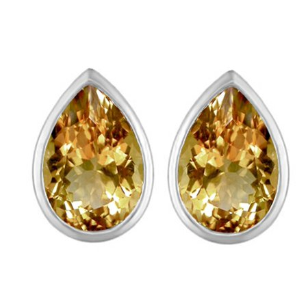 Star K 9x6mm Pear Shape Simulated Imperial Yellow Topaz Earrings Studs in Sterling Silver