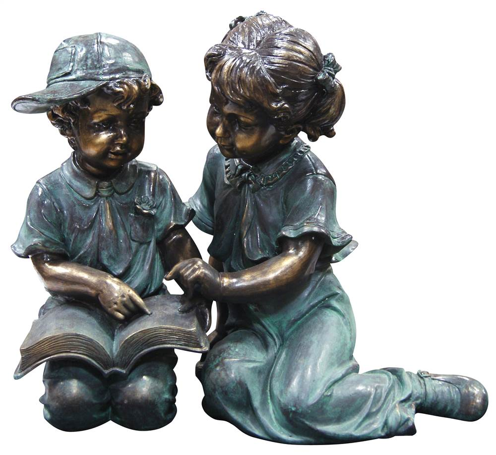 Benzara Boy and Girl Reading Together Statue