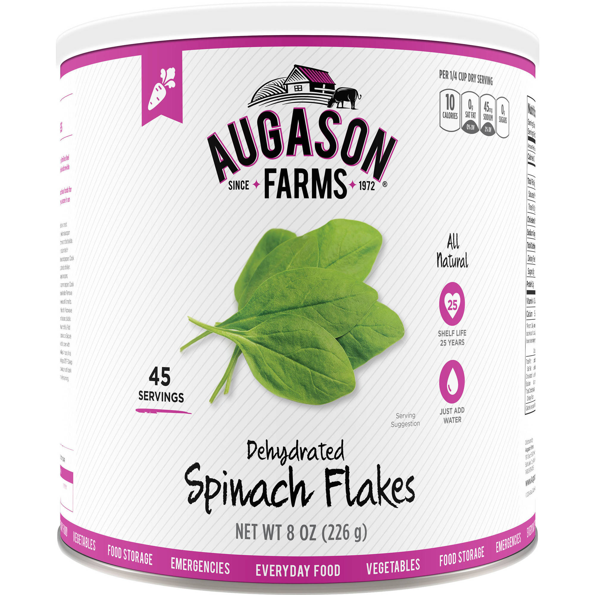 Augason Farms Dehydrated Spinach Flakes, 8 oz