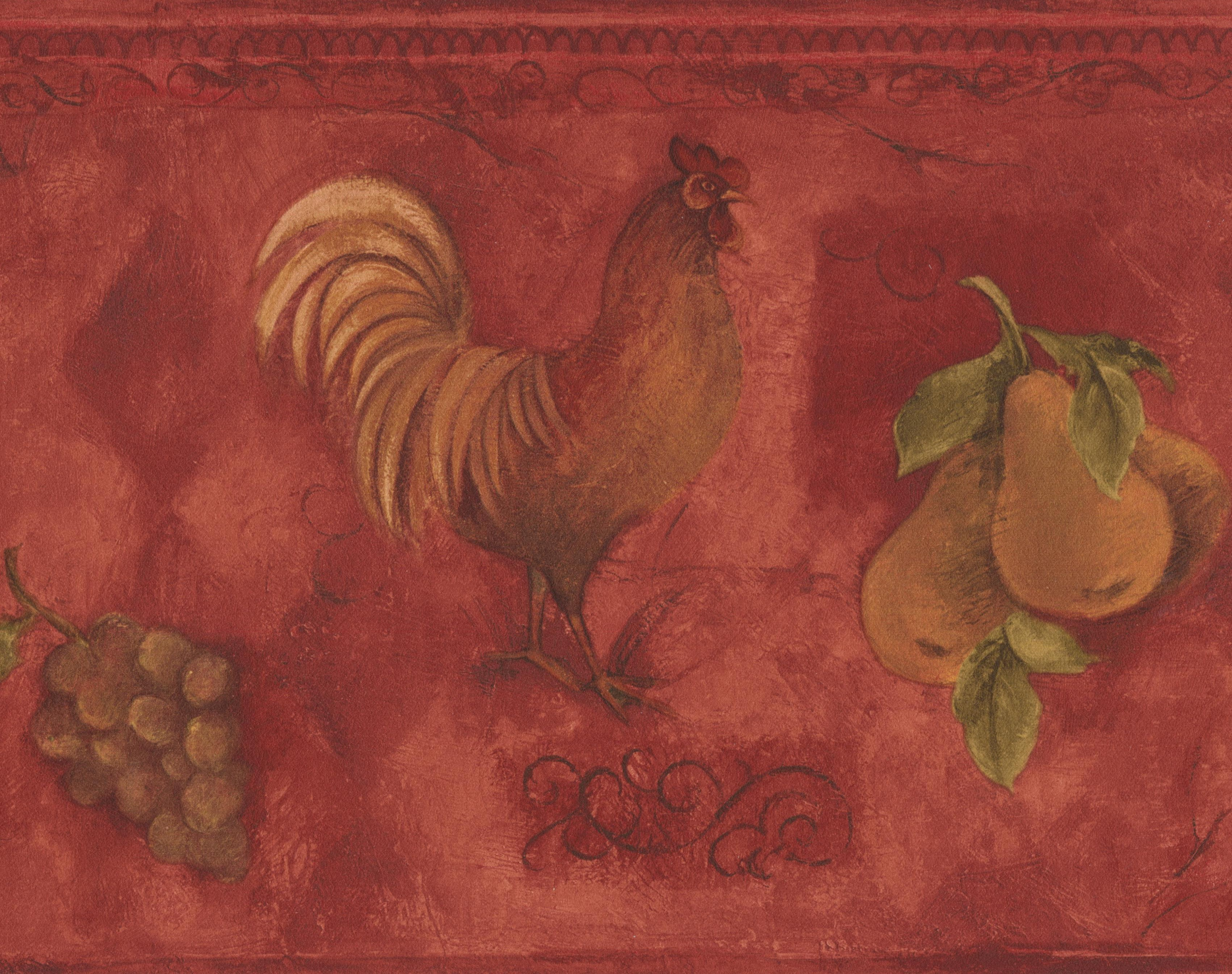Rooster Grapes Pears Cherries Red Wallpaper Border Paint By Design Roll 15 X 9