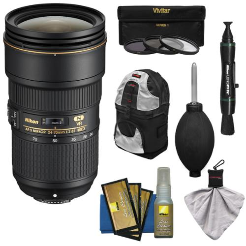 Nikon 24-70mm f/2.8E VR AF-S ED Nikkor Zoom Lens with Backpack + 3 Filters + Kit for D3300, D5300, D5500, D7100, D7200, D610, D750, D810, D4s Camera