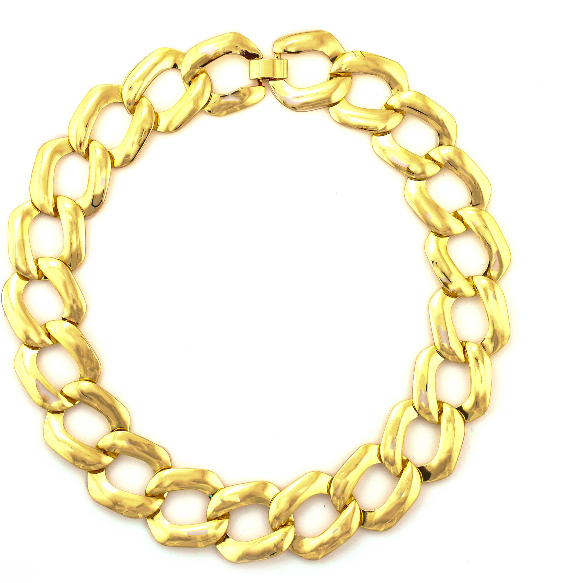 Tazza Shiny Gold-Tone Thick Flat Chain Statement Necklace