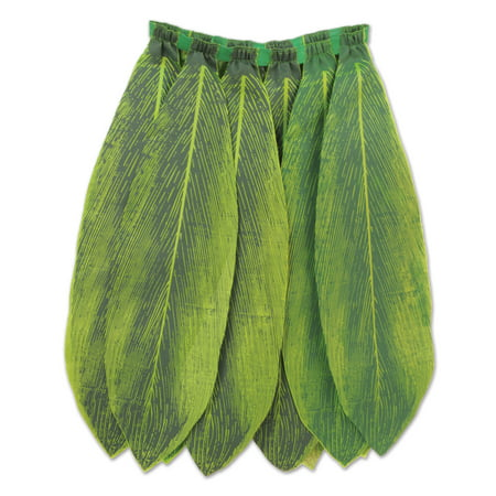 Beistle Ti Leaf Hula Skirt Luau Party Skirt, Green, One Size 31 - 32