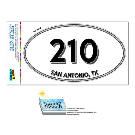 210 - San Antonio, TX - Texas - Oval Area Code Sticker (Halloween Store San Antonio Tx)