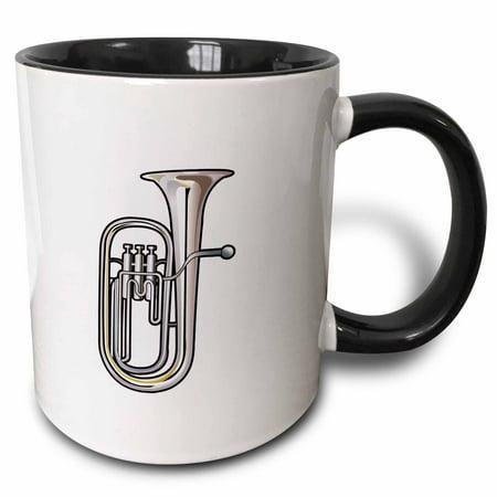 3dRose euphonium brass instrument music realistic - Two Tone Black Mug, 11-ounce