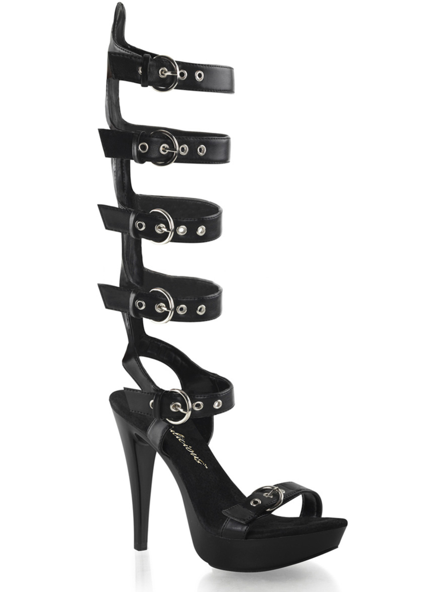 Womens Matte Black Buckled Sandals Shoes with Knee High Straps and 5'' Heels