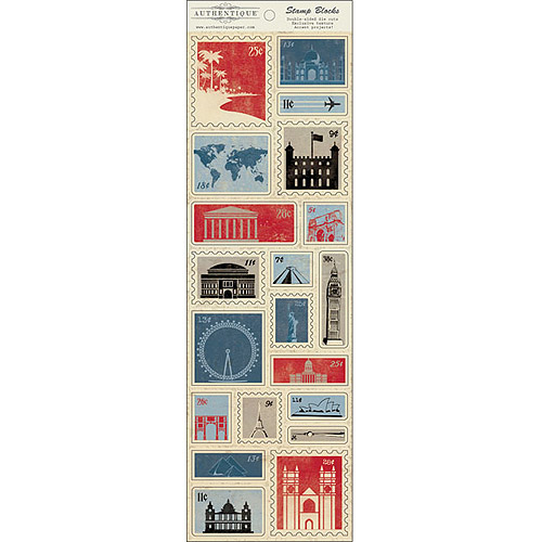 """Abroad Cardstock Die-Cuts, 4"""" x 12"""", Stamp Blocks Postage Icons"""