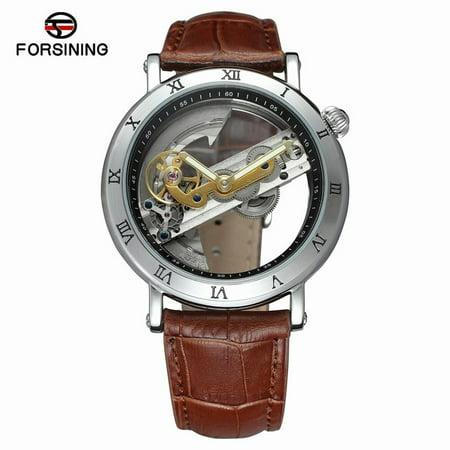FORSINING Luxury Skeleton Automatic Mechanical Men Watch Self-Wind Stainless Steel/Genuine Leather Man Business Wristwatch Masculino Relogio + (Luxury Automatic Skeleton)