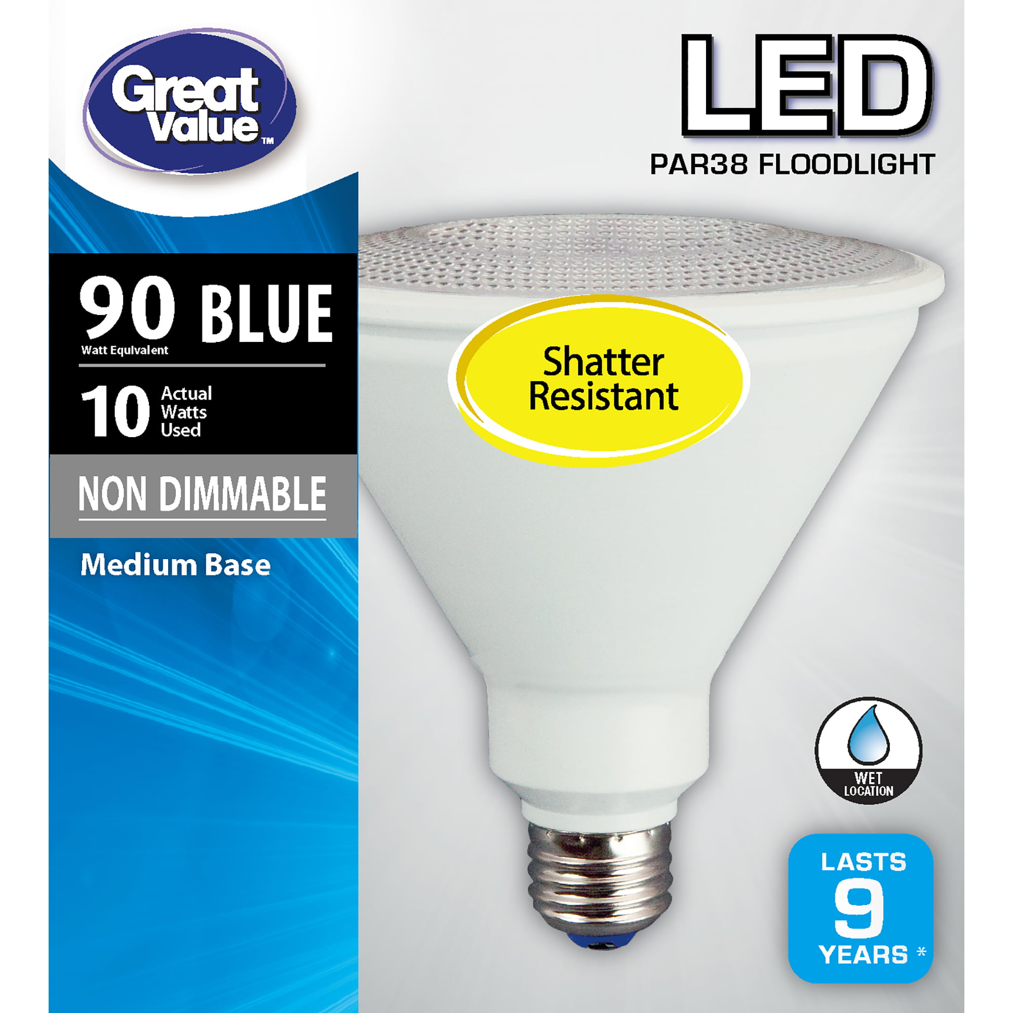 Great Value Led Light Bulb 10 Watts 90w Equivalent Par38 Floodlight Lamp E26 Medium Base Non Dimmable Blue 1 Pack Walmart Com Walmart Com