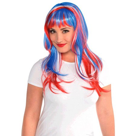 Red White and Blue Glamorous Wig (1ct) - Red White And Blue Wig
