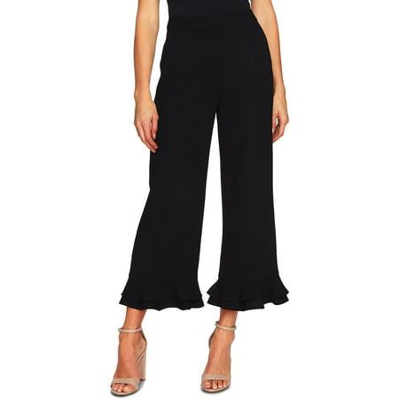 CeCe Womens Crop Ruffled Wide Leg Pants Jersey Wide Leg Cropped Pants