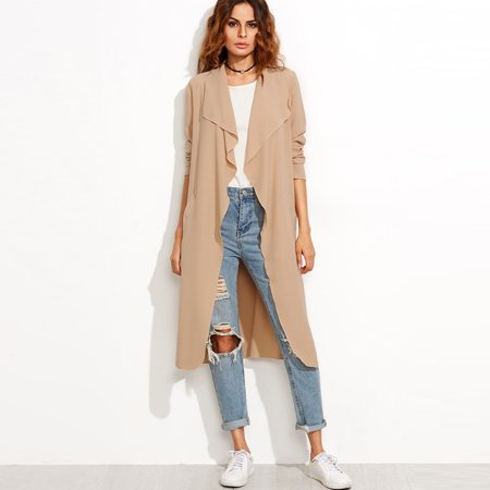 72bc85a7bc6 FLORHO - FLORHO Women Trench Coat Cardigans Light Weight Italian Waterfall  Belt Long Sleeve Lapel Open Front Coat Jacket - Walmart.com